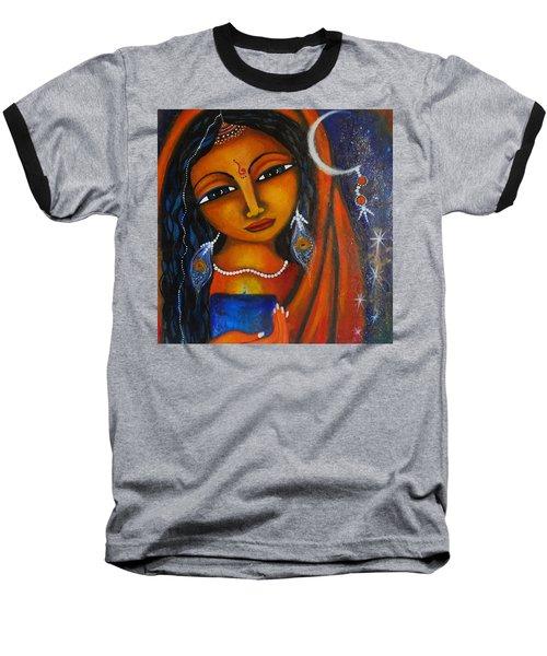 Baseball T-Shirt featuring the painting Illuminate by Prerna Poojara