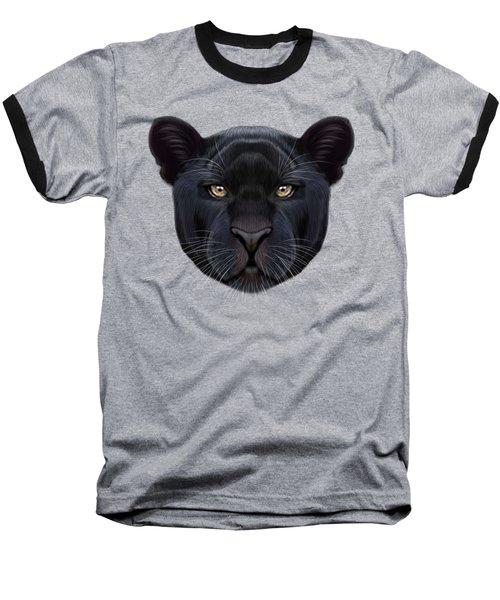 Illustrated Portrait Of Black Panther.  Baseball T-Shirt by Altay Savrukov