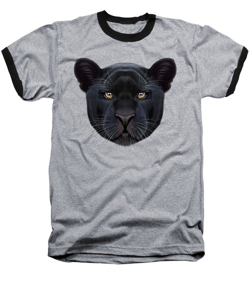 Illustrated Portrait Of Black Panther.  Baseball T-Shirt