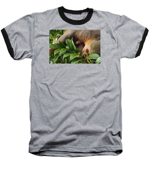 Baseball T-Shirt featuring the photograph I'm Trying To Eat Here by Pamela Blizzard