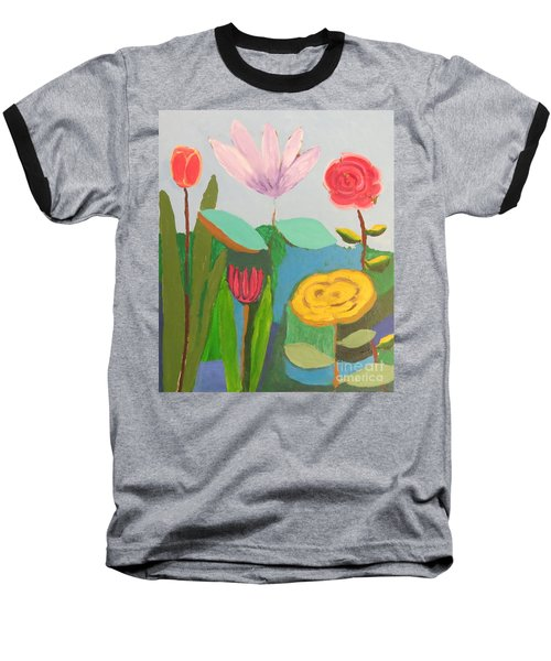 Baseball T-Shirt featuring the painting Imagined Flowers One by Rod Ismay