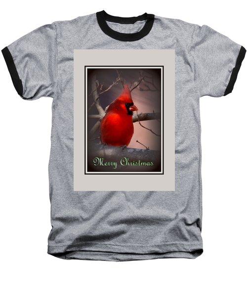 Img_3158-005 - Northern Cardinal Christmas Card Baseball T-Shirt