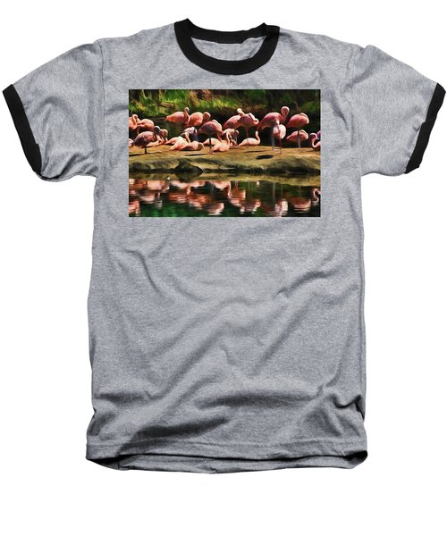 Pink Flamingo Color Baseball T-Shirt by Terry Cork