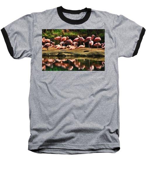 Pink Flamingo Color Baseball T-Shirt