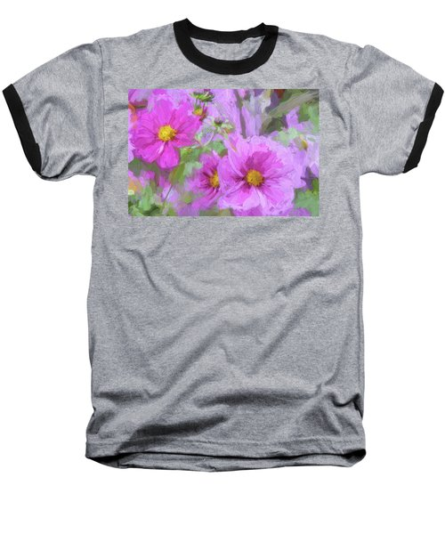 Impasto Cosmos Baseball T-Shirt by Bonnie Bruno