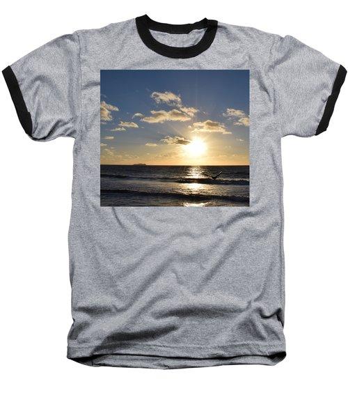 Imperial Beach Sunset Reflection Baseball T-Shirt by Karen J Shine