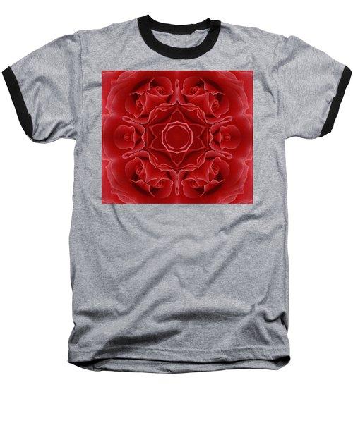 Imperial Red Rose Mandala Baseball T-Shirt