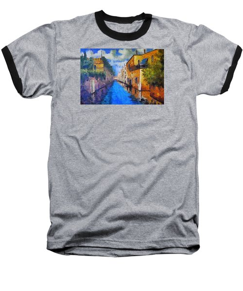 Impressionist D'art At The Canal Baseball T-Shirt by Mario Carini
