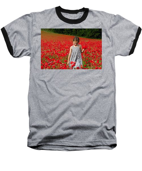 In A Sea Of Poppies Baseball T-Shirt by Keith Armstrong