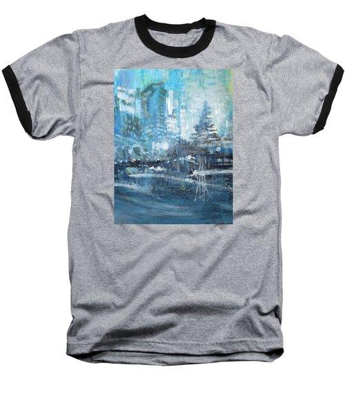 In A Winter Urban Park Baseball T-Shirt by John Fish