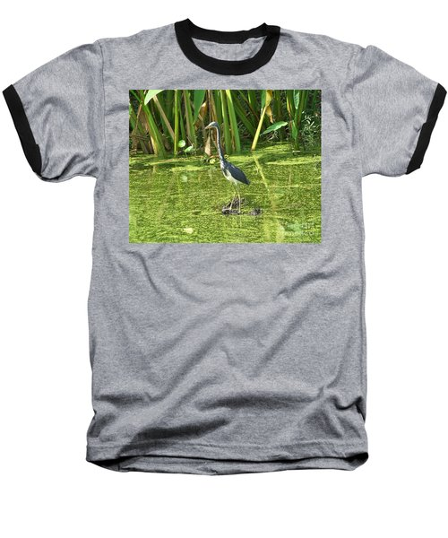 Baseball T-Shirt featuring the photograph In Green Soup by Carol  Bradley