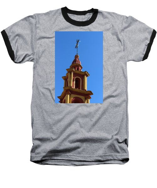 In Mexico Bell Tower Baseball T-Shirt by Cathy Anderson