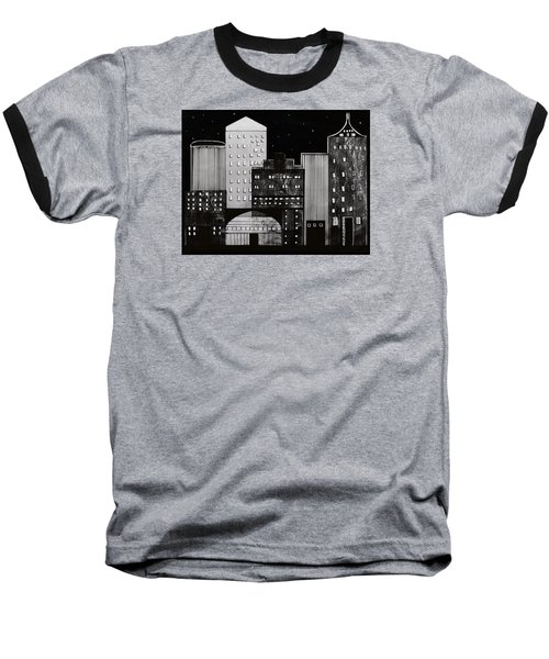 Baseball T-Shirt featuring the drawing In The City by Kathy Sheeran