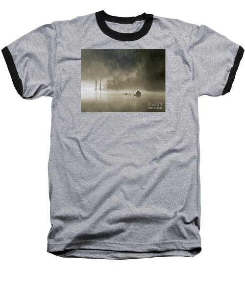 Baseball T-Shirt featuring the photograph In The Fog by Inge Riis McDonald