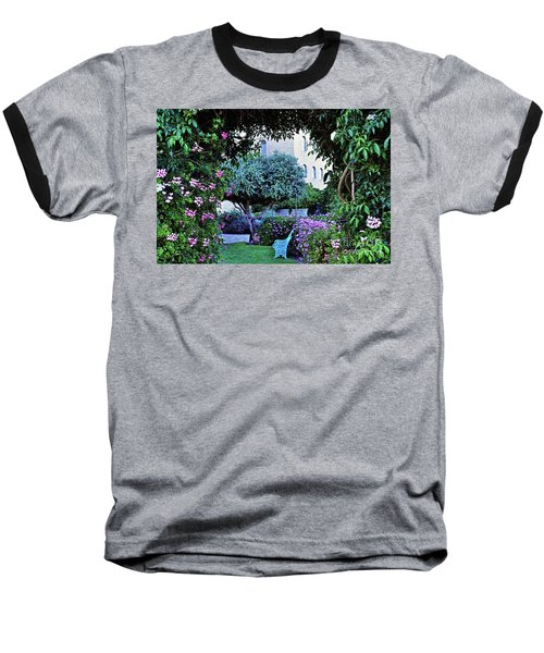 In The Garden At Mount Zion Hotel  Baseball T-Shirt by Lydia Holly