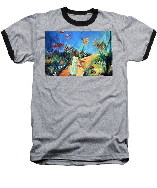 Baseball T-Shirt featuring the painting In The Garden Of Joy by Winsome Gunning