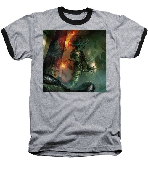 In The Lair Of The Gorgon Baseball T-Shirt by Ryan Barger