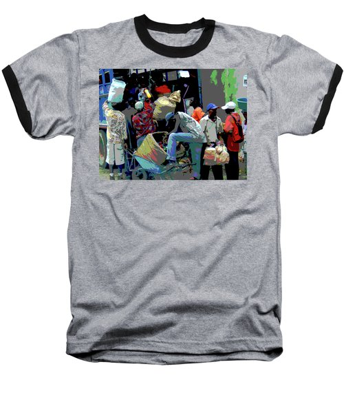 In The Market Place Baseball T-Shirt by B Wayne Mullins