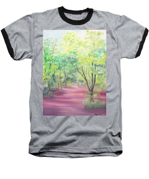 Baseball T-Shirt featuring the painting In The Park by Elizabeth Lock