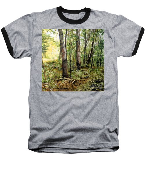 In The Shaded Forest  Baseball T-Shirt by Laurie Rohner