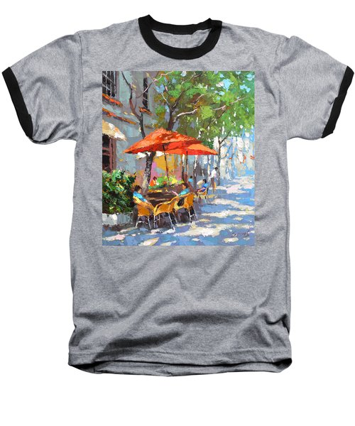 Baseball T-Shirt featuring the painting In The Shadow Of Cafe by Dmitry Spiros