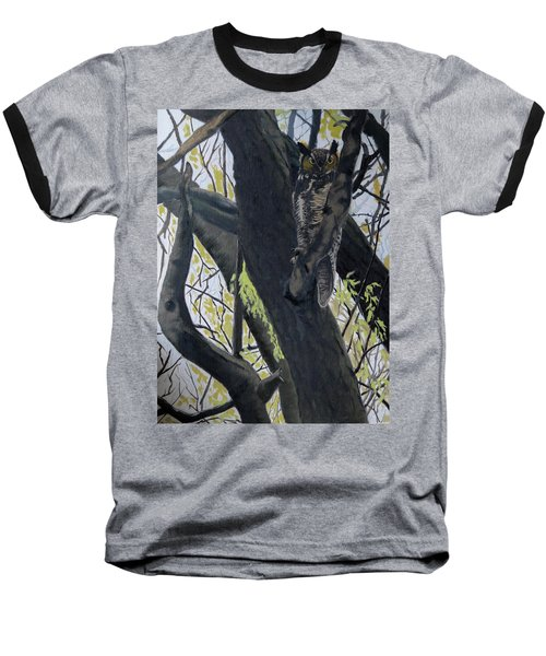 In The Shadow-ojibway Great Horn Owl Baseball T-Shirt