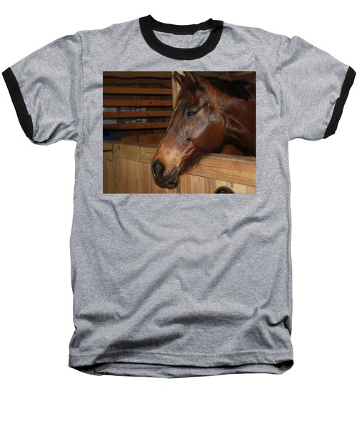 In The Stall Baseball T-Shirt by Roena King