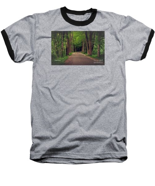 In To The   Deep Dark Woods  Baseball T-Shirt by MaryLee Parker
