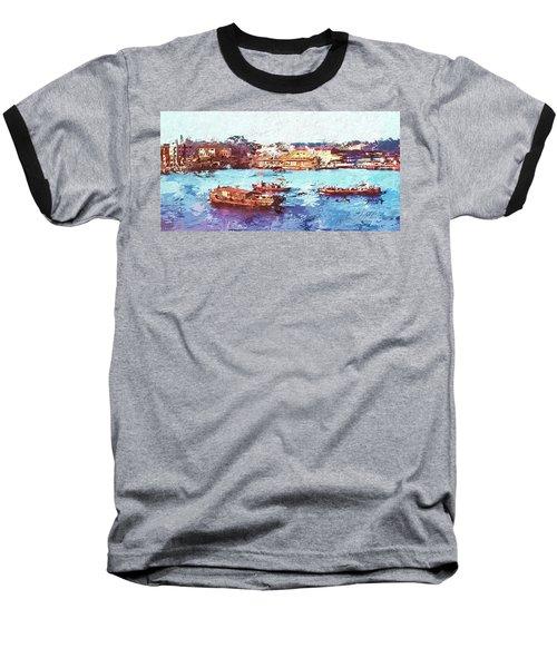 Baseball T-Shirt featuring the digital art Inchon Harbor by Dale Stillman