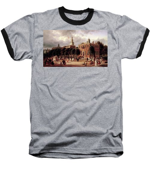 Baseball T-Shirt featuring the painting Independence Hall by Ferdinand Richardt