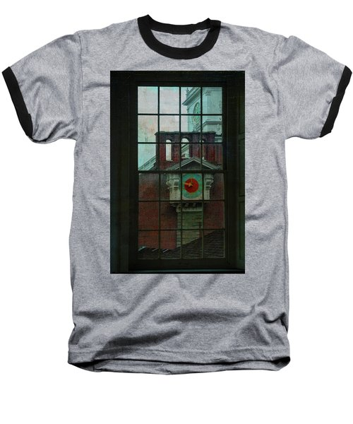 Baseball T-Shirt featuring the photograph Independence Hall Through Congressional Window by Jeff Burgess