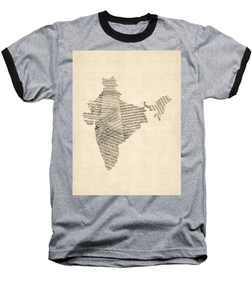 India Map, Old Sheet Music Map Of India Baseball T-Shirt