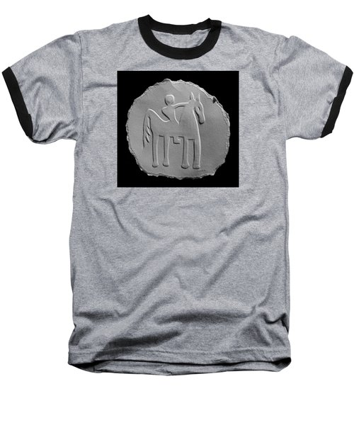 Baseball T-Shirt featuring the relief Indian Art - Horse Rider by Suhas Tavkar