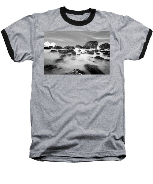 Indian Beach, Ecola State Park, Oregon, In Black And White Baseball T-Shirt