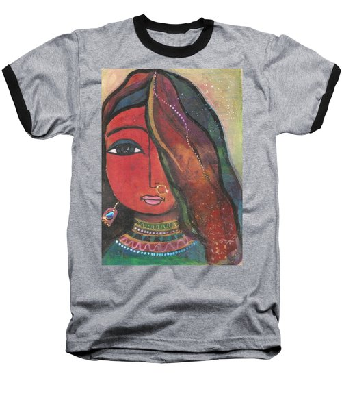Indian Girl With Nose Ring Baseball T-Shirt