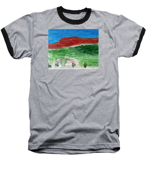 Baseball T-Shirt featuring the painting Indian Paintbrush Under A Midday Sun by Brenda Pressnall