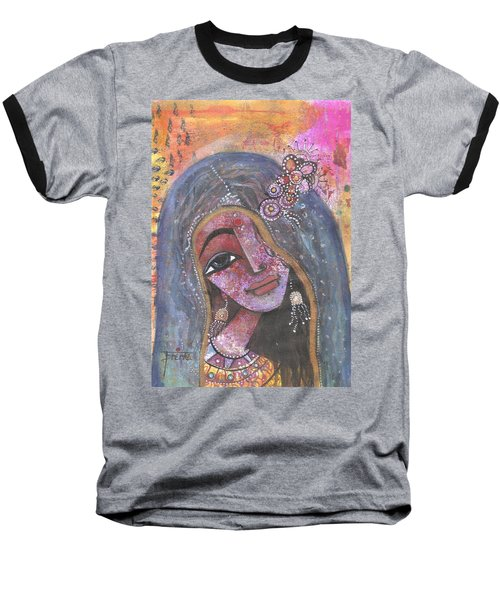 Indian Rajasthani Woman With Colorful Background  Baseball T-Shirt