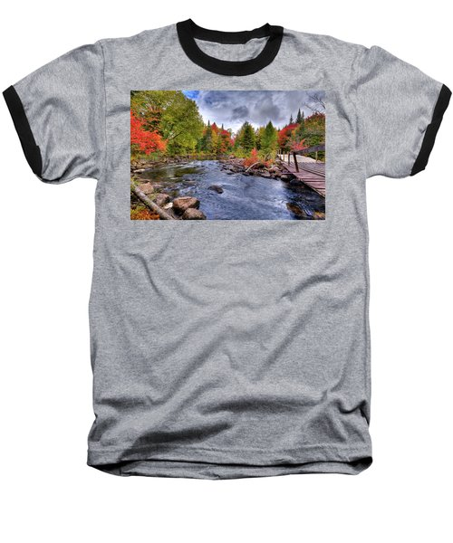 Indian Rapids Footbridge Baseball T-Shirt by David Patterson