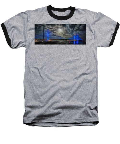 Indian River Bridge Moonlight Panorama Baseball T-Shirt