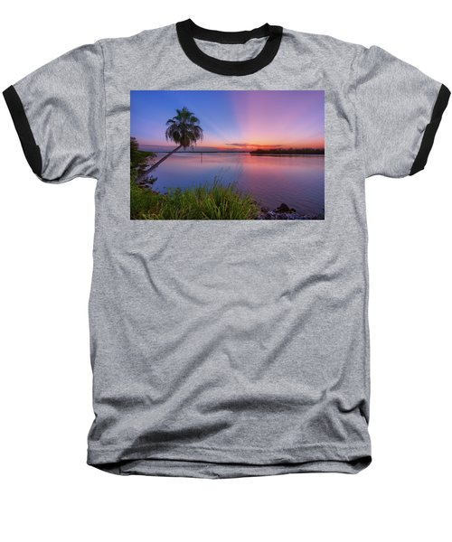 Indian River State Park Bursting Sunset Baseball T-Shirt by Justin Kelefas