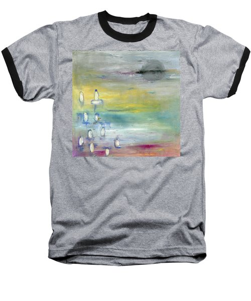 Baseball T-Shirt featuring the painting Indian Summer Over The Pond by Michal Mitak Mahgerefteh