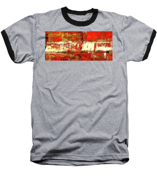 Indian Summer - Red Contemporary Abstract Baseball T-Shirt
