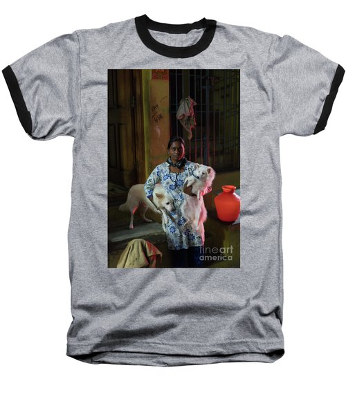 Baseball T-Shirt featuring the photograph Indian Woman And Her Dogs by Mike Reid