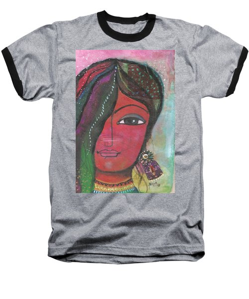 Indian Woman Rajasthani Colorful Baseball T-Shirt