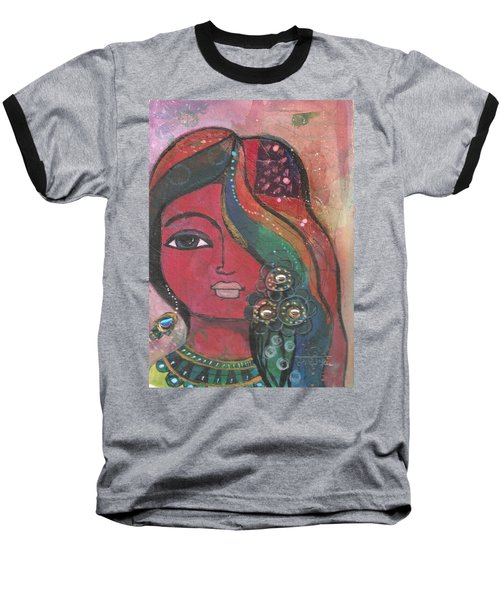 Indian Woman With Flowers  Baseball T-Shirt