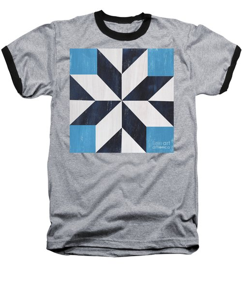 Baseball T-Shirt featuring the painting Indigo And Blue Quilt by Debbie DeWitt