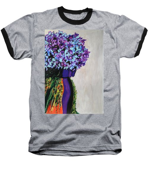 Indigo Flowers For Ma Baseball T-Shirt by Esther Newman-Cohen