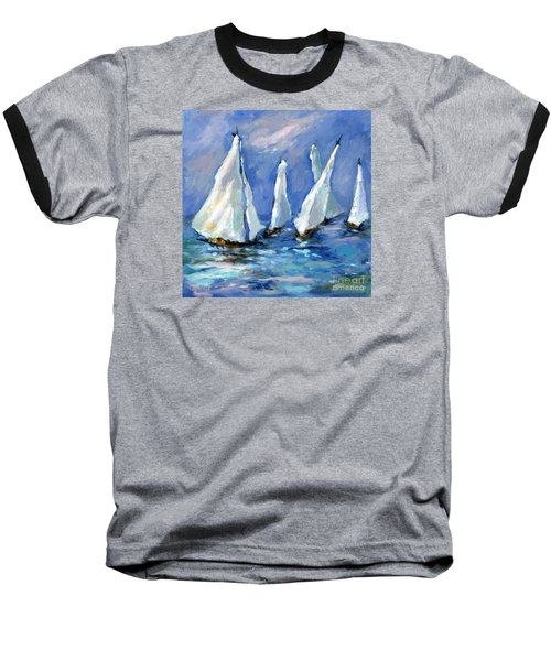 Indigo Seas Baseball T-Shirt by Sharon Furner