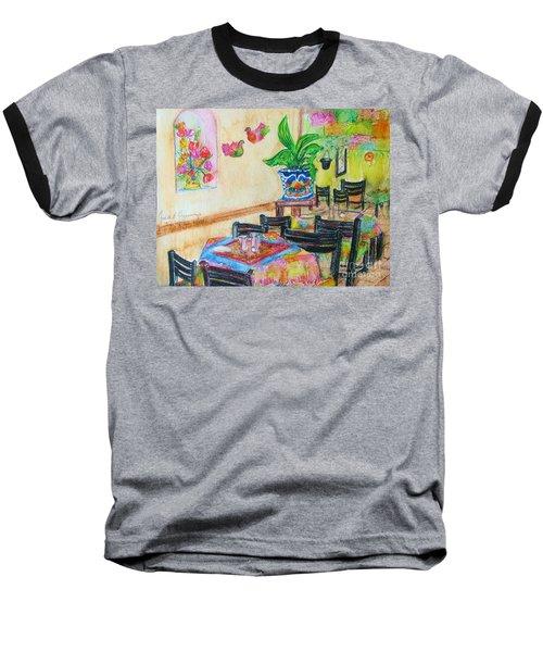 Indoor Cafe - Gifted Baseball T-Shirt by Judith Espinoza