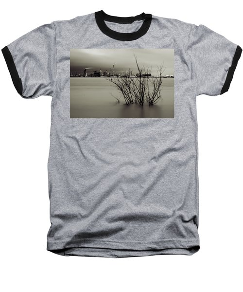 Industry On The Mississippi River, In Monochrome Baseball T-Shirt